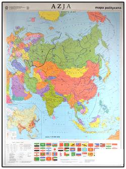 Azja Mapa Scienna Dwustronna Polityczna Konturowa 150 X 210