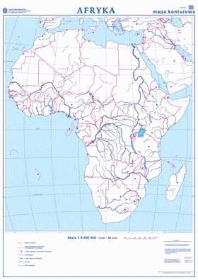 Afryka Mapa Scienna Dwustronna Polityczna Konturowa 110 X