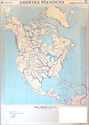 Ameryka Polnocna Mapa Scienna Dwustronna Polityczna Konturowa