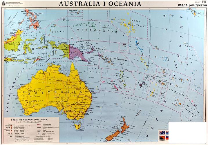 Australia I Oceania Mapa Scienna Dwustronna Polityczna