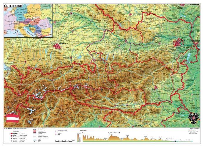 Austria Mapa Scienna Fizyczna 160 X 120 Cm Mapy Scienne