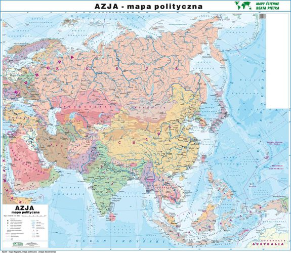 Azja Mapa Scienna Dwustronna Fizyczna Polityczna 160 X 140