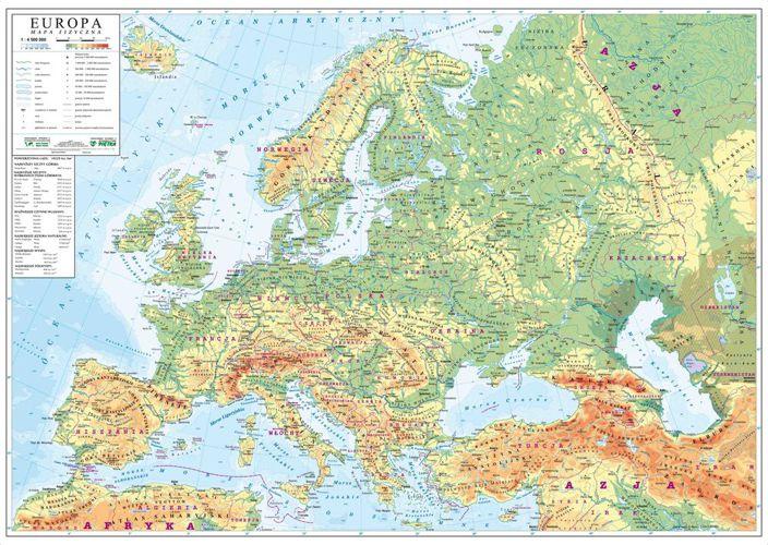 Europa Mapa Scienna Fizyczna 140 X 100 Cm Mapy Scienne