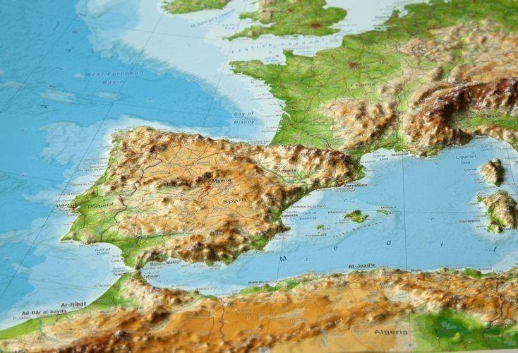 Europa Mapa Scienna Plastyczna Rama Aluminiowa 77 X 57 Cm