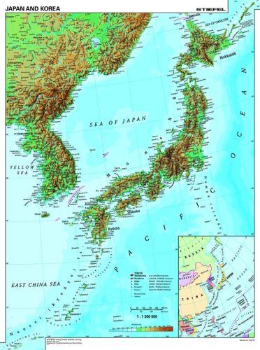 Japonia Korea Mapa Scienna Fizyczna 120 X 160cm Mapy