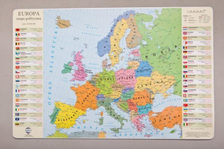 Podkladka Na Biurko Mapa Polityczna Europy Mapy Scienne