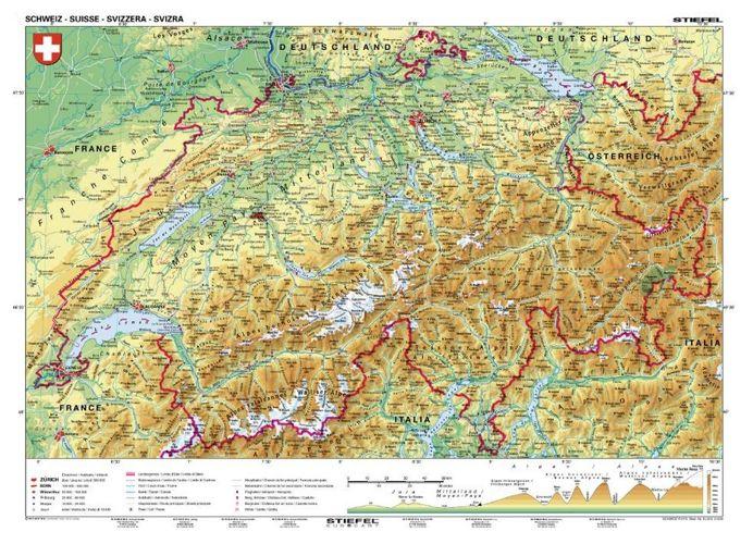 Szwajcaria Mapa Scienna Fizyczna 140 X 100 Cm Mapy Scienne